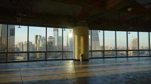 view modern city architecture from building window,escape layer,sun pass through Footage
