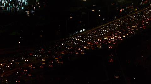 nighttime traffic jam on overpass in Beijing Stock Video Footage