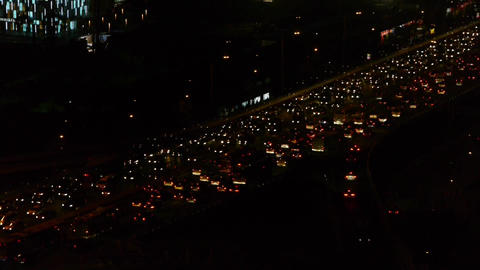 nighttime traffic jam on overpass in Beijing Footage