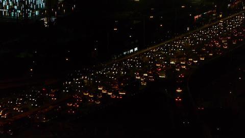 nighttime traffic jam on overpass in Beijing Footage