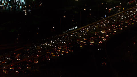 nighttime traffic jam on overpass in Beijing Stock Video Footage