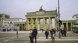 Pedestrians In Front Of Brandenburg Gate In Berlin stock footage