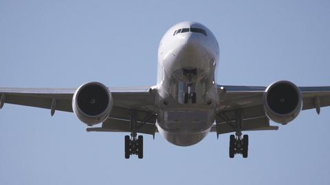 Airplane landing close up Stock Video Footage