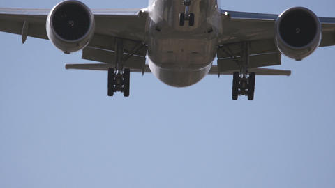 Airplane landing close up Stock Video Footage