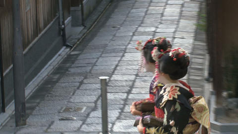 Geishas walking in Kyoto Footage