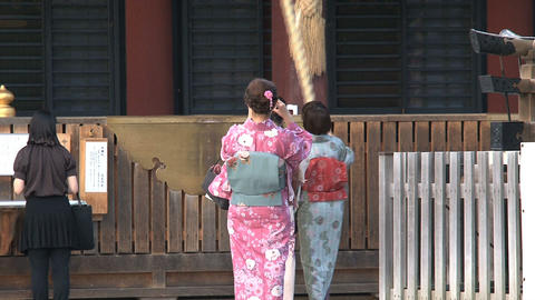 Girls Kimono Yasaka Shrine 02 stock footage
