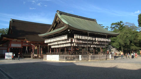 Japanese Lanterns Yasaka Shrine zoomout Stock Video Footage