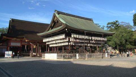 Japanese Lanterns Yasaka Shrine zoomout Stock Video Footage