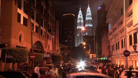 KL night Petronas timelapse Stock Video Footage
