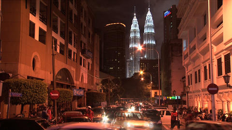 KL night Petronas timelapse Stock Video Footage