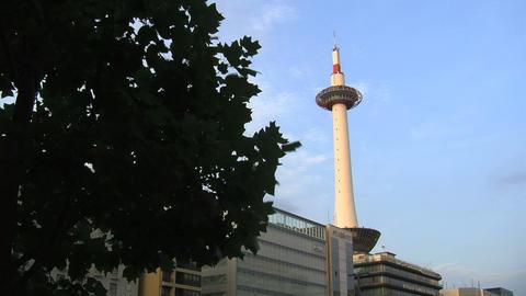 Kyoto tower timelapse slide Stock Video Footage