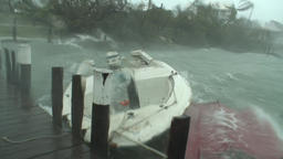 Hurricane storm surge slams boat into dock Footage