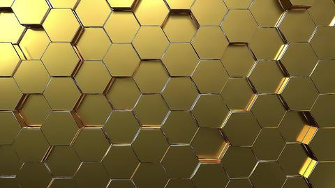 Golden hexagon honeycomb movement background Animation