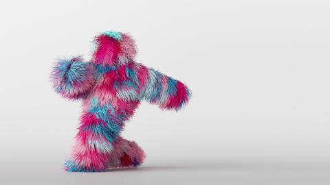 3d colorful hairy cartoon character funny hip hop dancing, furry beast having fun Animation