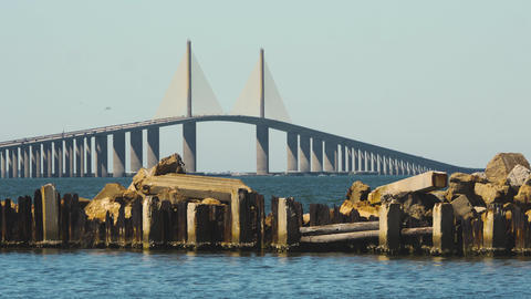 Ruins in Front of Sunshine Skyway Bridge, 4K Footage