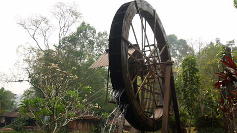 Rotating water old wheel footage Live Action