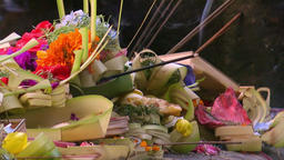 Beautiful ceremonial offering to gods in Hindu Temple. Bali, Indonesia Footage
