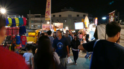Night market in Tainan, Taiwan Live Action
