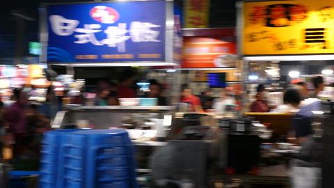 Night market in Tainan, pan shot Live Action