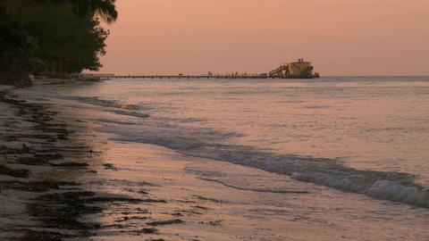 Fishing Pier During Pink Sunset, 4K Footage
