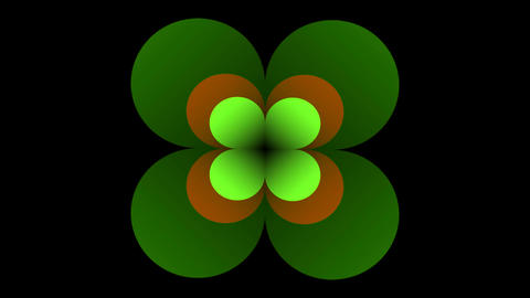 Animated green logotype in cloverleaf shape. Rotating and flickering cloverleafs Footage