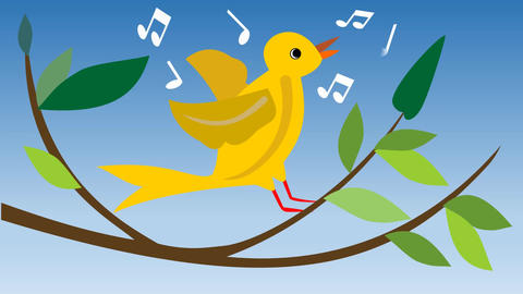 Animated yellow canary-bird. Singing canary-bird on branch with green leaves. Cu Footage