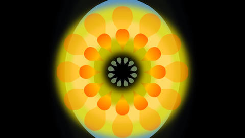 Movie of abstract dancing flower with blurry circle. Yellow and orange fantasy r Footage