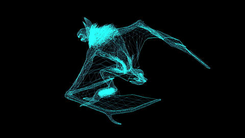 3d wire frame animation of mythical beast animal is running on black background Animation