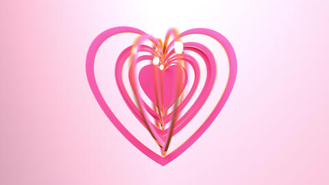 Heart waves on a pink background. Card for Mother's Day, Valentine's Day and other love occasions Animation
