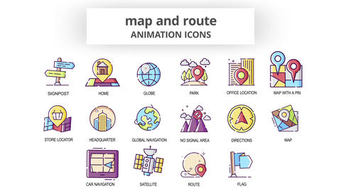 Map & Route - Animation Icons After Effects Template