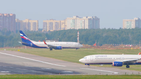 Aeroflot - Russian Airlines Boeing 737 airliner lining up on the runway for Live Action