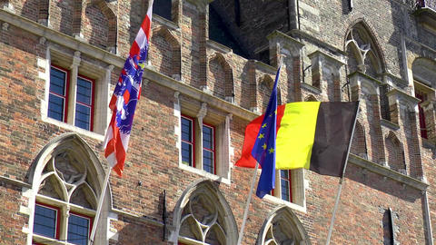 Flags of Belgium, City of Bruges and Europe Live Action