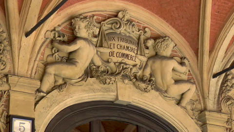 Architectural details: Old Stock Exchange building in Lille, France Live Action
