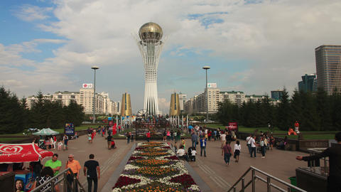 Bayterek Astana Evening 4k Animation