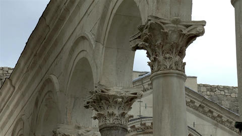 Detail of Roman architecture in Split, Croatia: Diocletian's Palace Live Action