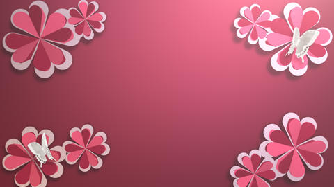 Animation closeup motion romantic flowers on red holidays shiny background Animation