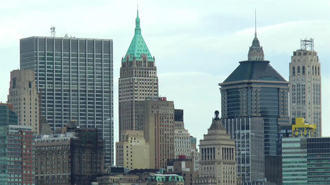 View of Lower Manhattan buildings, New York City Live Action