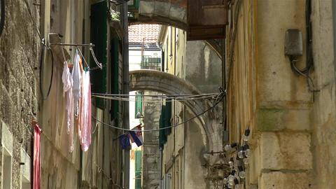 Architectural details in ancient Split, Croatia Live Action