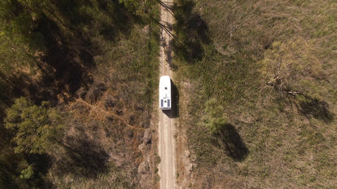Aerial shots of a motor home exploring the Murray River Basin. Road trip tourism Live Action