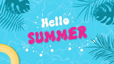 hello summer text swimming pool season transition cartoon animation hello summer Animation