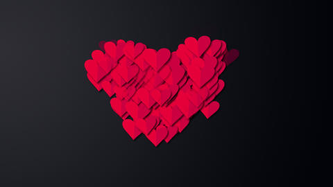 Small read hearts into big red heart love concept love valentines love wedding red wedding Animation