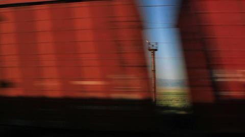 Train Window Multicolored Cars Footage