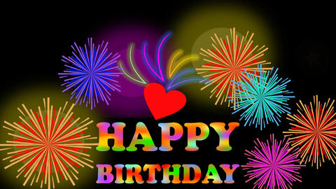 Animated happy birthday billboard with firework, colorful inscription and small  Animation
