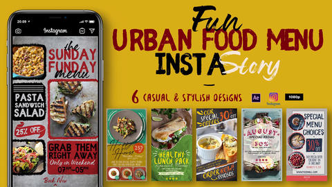 Fun Urban Food Menu Instagram Stories After Effects Template
