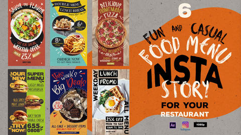 Fun Casual Food Menu Instagram Stories After Effects Template