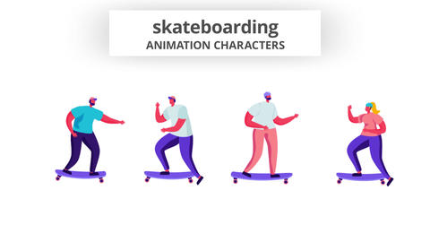 Skateboardinging - Character Set After Effects Template
