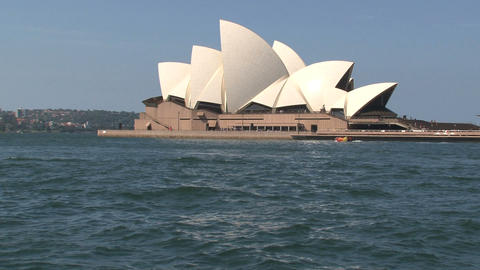 Ferry zoom out Opera house Sydney Stock Video Footage