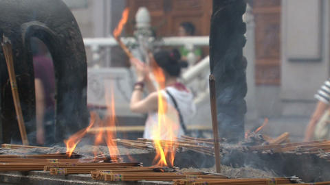 Fire incense offer Jing'an Temple Stock Video Footage