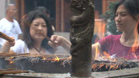 Jing'an Temple incense Stock Video Footage