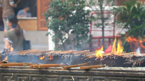 Incense at the Jing'an Temple Stock Video Footage
